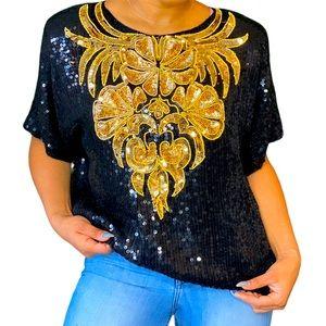 Vintage Black & Gold Sequin 100% Silk Floral Top